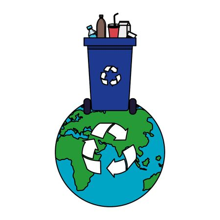world planet with recycle waste and plastic products vector illustration design  イラスト・ベクター素材