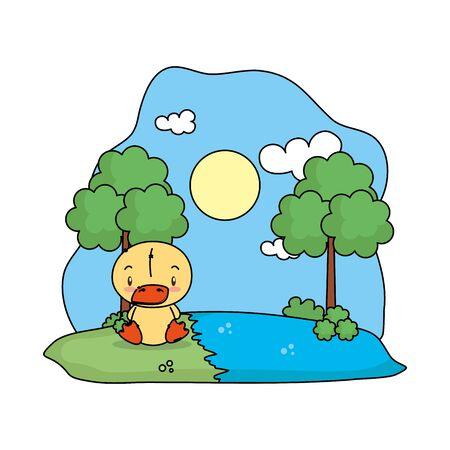 cute duck bird in the landscape vector illustration design Illusztráció