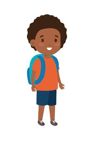 black little student boy vector illustration design