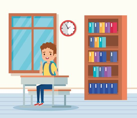 boy child in the classroom with desk and window to school education vector illustration Illustration