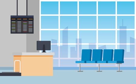 airport waiting room with chairs and desks with computer to travel service, vector illustration Illustration