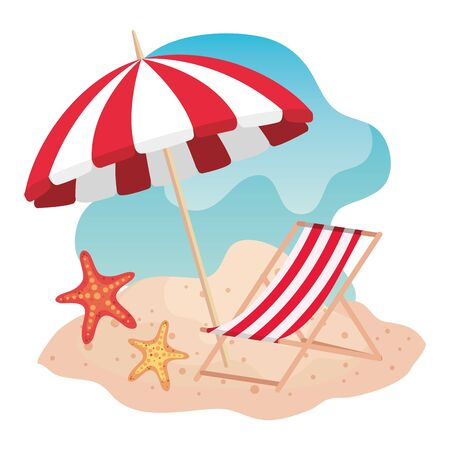 umbrella with tanning chair and starfishes in the beach sand to summer time vector illustration