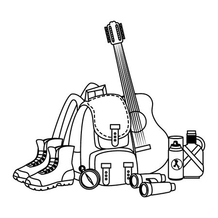 camping travel bag with guitar and equipment vector illustration design Stockfoto - 129789734