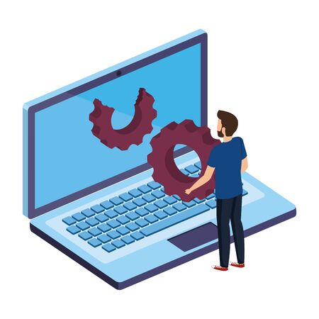 young man with laptop computer and gear settings vector illustration design