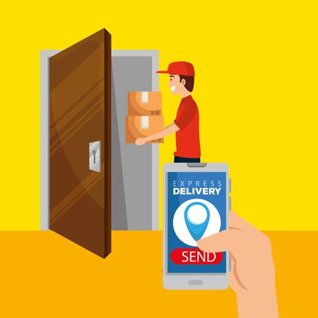 man with boxes packages in the door and hand with smartphone to delivery service vector illustration