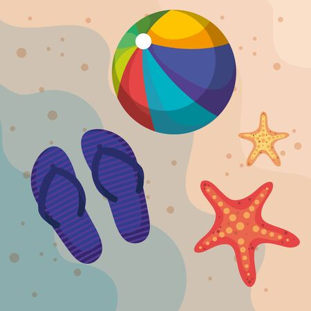 flip-flop with beach ball and starfishes in the sand to summer time vector illustration Illusztráció