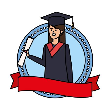 young woman student graduated in emblem with ribbon vector illustration design Illusztráció