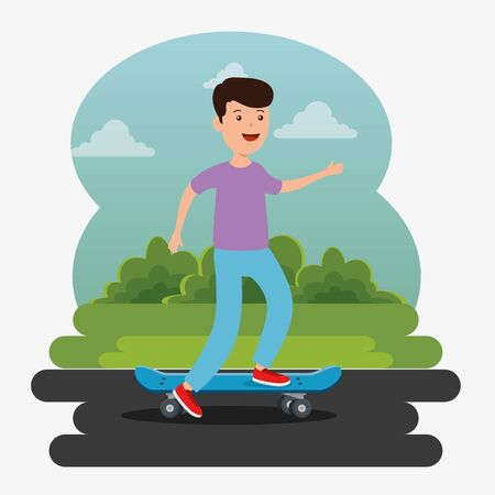 boy playing skateboard sport in the park with bushes plants vector illustration