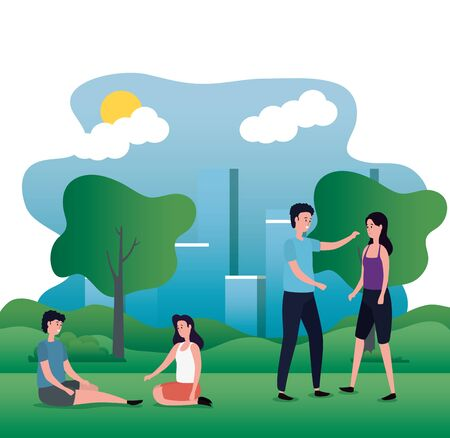 cute lovers couples on the park characters vector illustration design Illustration