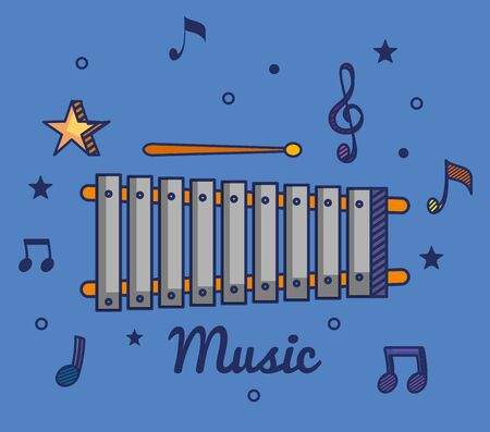 marimba instrument with treble clef and quaver with beam notes to music melody vector illustration