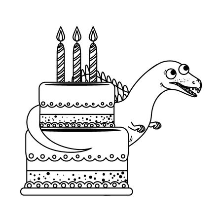 cute spinosaurus with sweet cake vector illustration design
