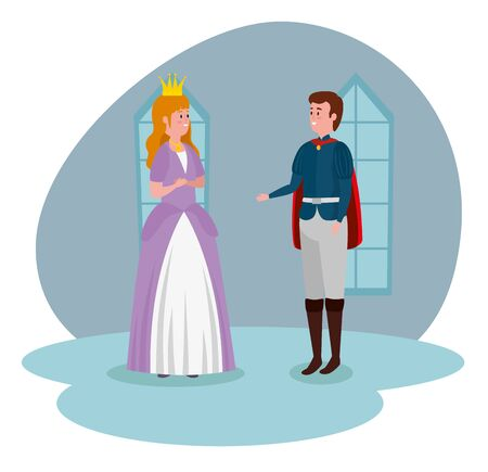 girl princess with crown and boy prince in the castle to tale character, vector illustration