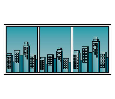 window with cityscape view scene vector illustration design Banque d'images - 129790515