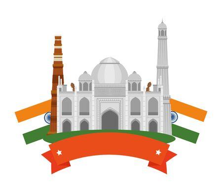 taj mahal indian building with flags vector illustration design Иллюстрация