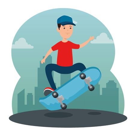happy boy kid practing with skateboard and casual clothes vector illustration