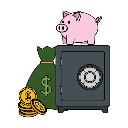 safe box with piggy and money vector illustration design Illustration