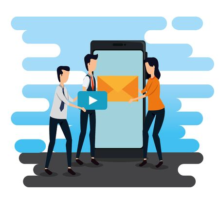 businessmen and businesswoman teamwork with video and letter message to social plan, vector illustration Standard-Bild - 129790687