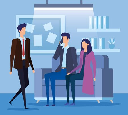 professional businessmen and businesswoman teamwork with noteboard and smartphone in the office, vector illustration Standard-Bild - 129790689