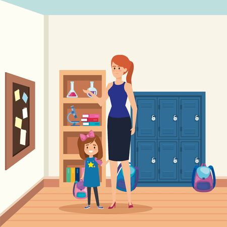 female teacher with student girl in the school scene vector illustration design Illustration