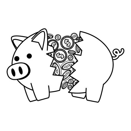 piggy savings broken with coins money vector illustration design
