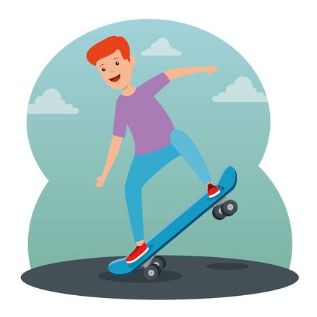 boy kid practing and playing with skateboard with casual clothes and clouds vector illustration 일러스트