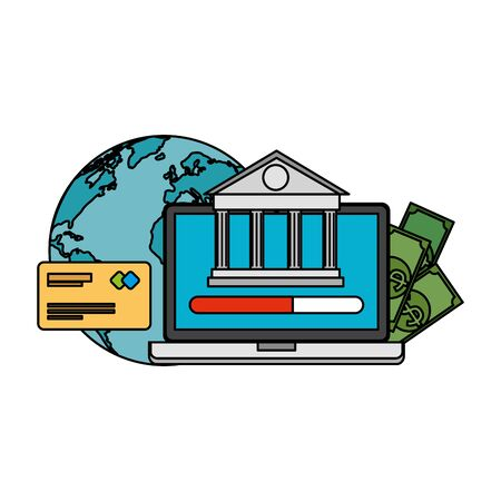 laptop with bank building and ecommerce icons vector illustration design Stock fotó - 129790764