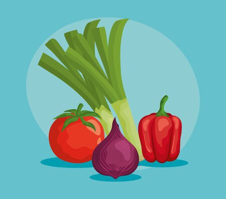 healthy vegetables with fresh vitamins and nutrition over blue background, Banque d'images - 129671610