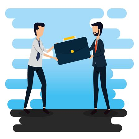 businessmen with briefcase data office information to social plan, vector illustration Standard-Bild - 129790767