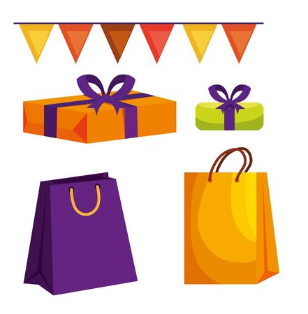 set of party banner with presents gifts and bags to raksha bandhan, vector illustration