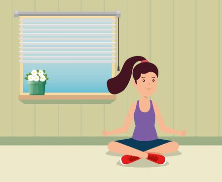 girl practice yoga exercise activity in the home to summer sport vector illustration