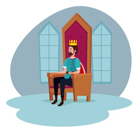 man with crown and cape sitting in the chair to tale character, vector illustration  イラスト・ベクター素材