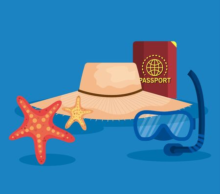 hat with passport and snorkel masks with starfish to summer time vector illustration Иллюстрация