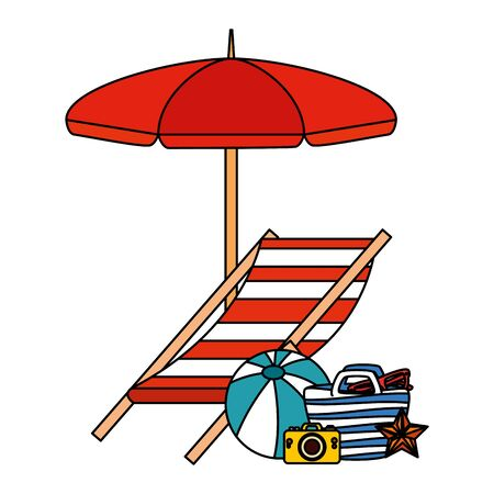 beach bag with umbrella and summer icons vector illustration design
