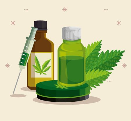 oil crystal bottles and syringe with cannabis leaves vector illustration