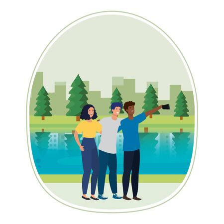 young interracial friends taking a selfie in the camp vector illustration design