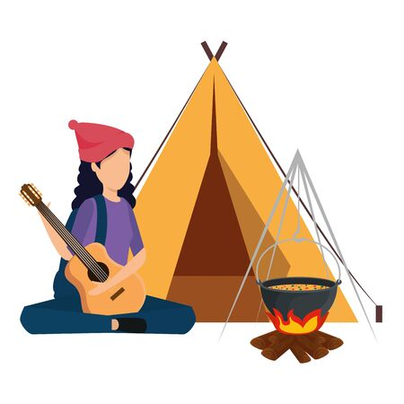 young woman playing guitar with camping tent and campfire vector illustration