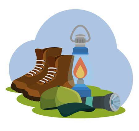 boots with lamp and cap to nature camping and summer adventure vector illustration Illustration