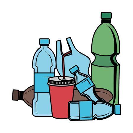 plastica e prodotti usa e getta immondizia illustrazione vettoriale design
