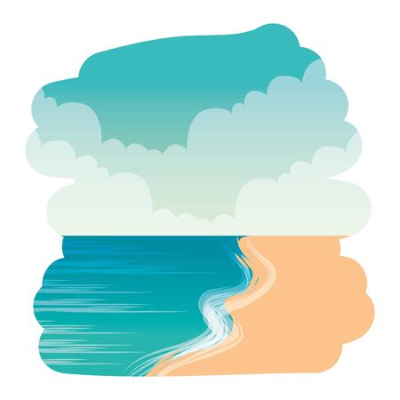 summer beach seascape scene icon vector illustration design