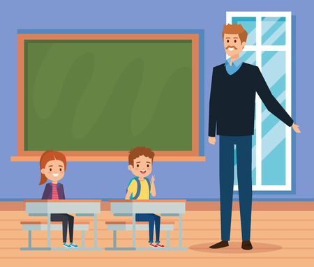 man teacher in the classroom with kids and blackboard to academic education vector illustration
