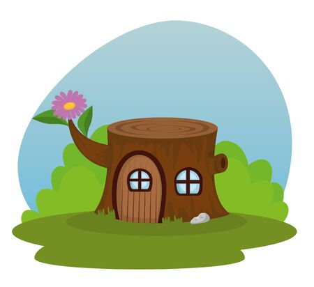trunk tree house with window and door to fantasy story, vector illustration Foto de archivo - 129678249