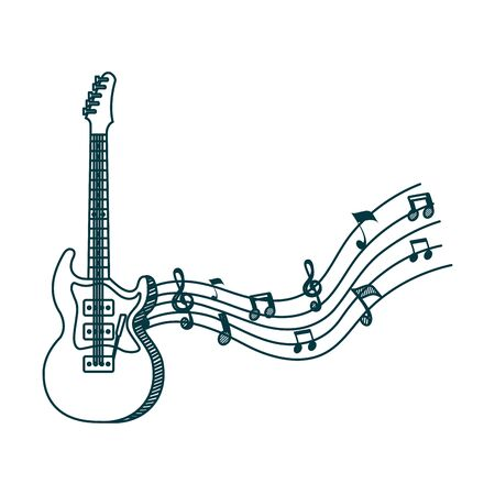 electric guitar instrument with music notes vector illustration design