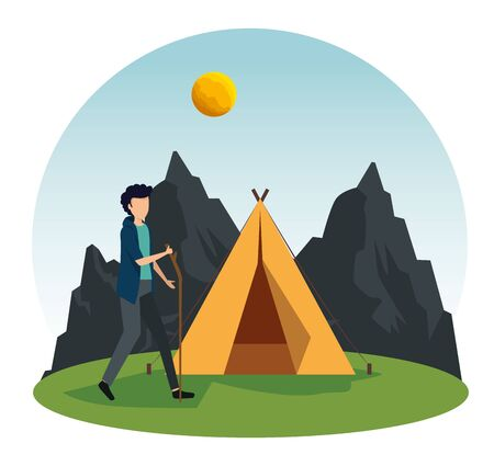 man walking with stick and camp with mountains and sun to tourism adventure vector illustration