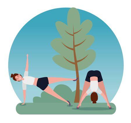 women training yoga meditation posture with tree and bushes plants, vector illustration