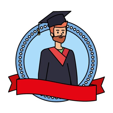 man student graduated with beard in emblem vector illustration design