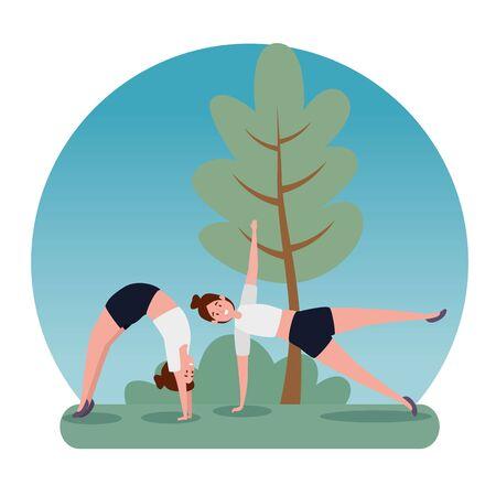 fitness women training harmony yoga balance with tree and bush plant, vector illustration