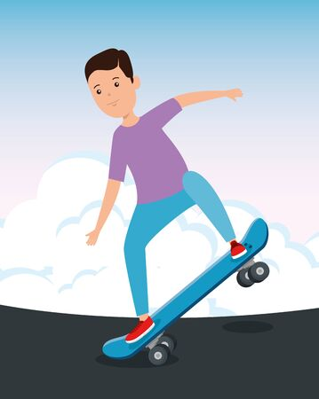 happy boy kid practing skateboard sport with casual clothes vector illustration Vectores