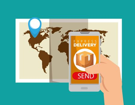 global map with location sign and hand wth smarphone to delivery service vector illustration