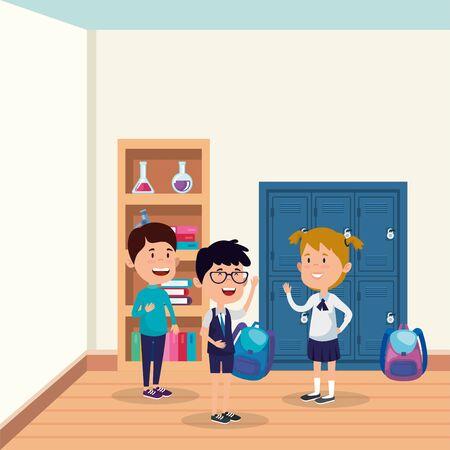 little students group in the school scene vector illustration design Illustration