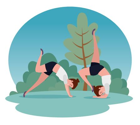 healthy women practice yoga pose with tree and bushes plants, vector illustration